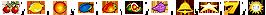 Kirsche, Zitrone, Orange, Pflaume, Erdbeere, Melone, Traube, Glocke, Stern, 7 und Merkur Sonne