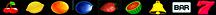 Kirsche, Zitrone, Orange, Pflaume, Erdbeere, Melone, Glocke, BAR, Sieben