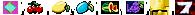 Raute, Kirsche, Zitrone, Pflaume, Melone, Traube, Glocke, 7